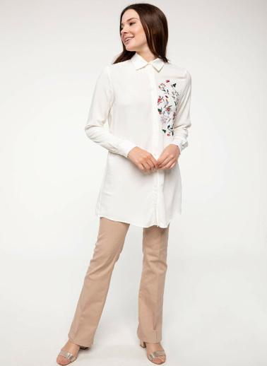 DeFacto Çiçek Baskılı Gömlek Tunik Beyaz